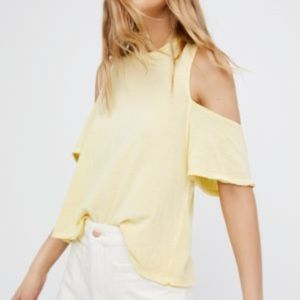 Free People Taurus Cold Shoulder Tee / pale yellow